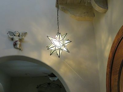 """Moravian 11.5""""  glue chip glass star with regular canopy"""