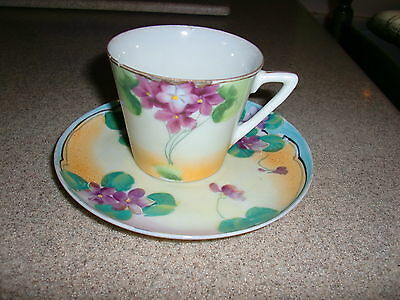 Older Vintage Hand Painted Nippon Pretty Asian Floral Antique Cup Saucer