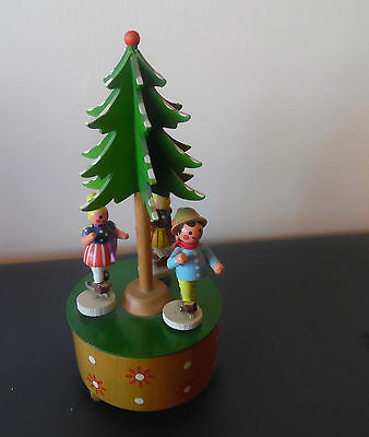 Vintage Schlittschuhlaufer Germany Mechanical Music Box Skating Around The Tree