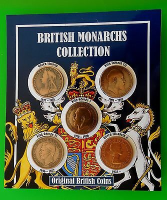 British Monarchs Collection 5 Original Penny Coin Money Pack Collector Freepost