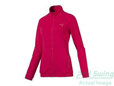 New Womens Puma Golf Full Zip Mock Neck Small S Rose Red MSRP $70