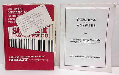 Schaff Piano Supply Co. Catalog & Standard Player Monthly Q & A Guide LOT!