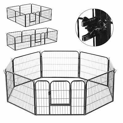 8 Panels Pet Playpen Heavy Duty Dog Cage Whelping Puppy Enclosure Fence Metal