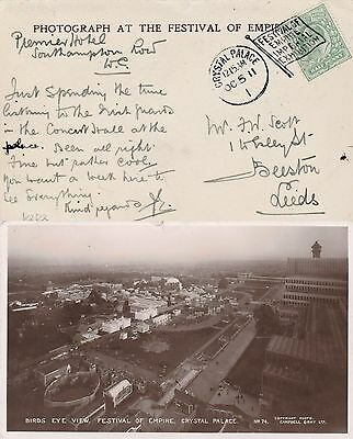 GB CRYSTAL PALACE 1 Imperial Exhibition Flag Cancel Birds Eye View RPPC 1911