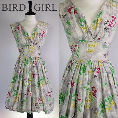 Original Wiildflower Floral Print 1950S Vintage Grey Cotton Swing Day Dress 10 S