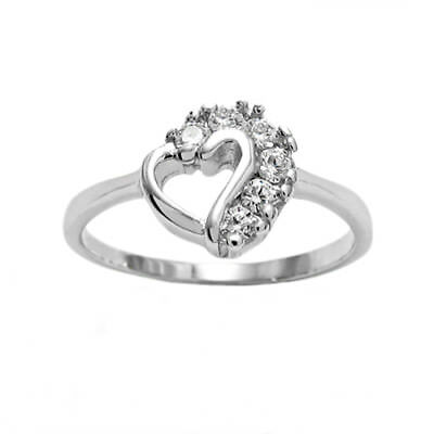 925 Sterling Silver Child's 0.18 Carat CZ Heart Ring Size 3-4