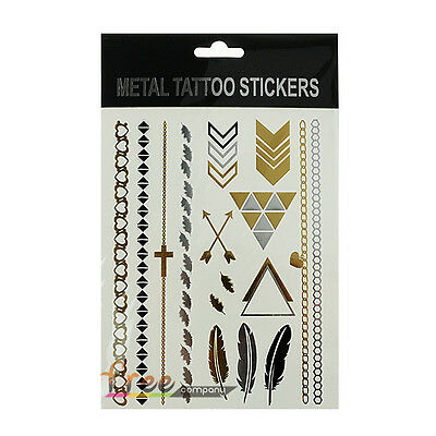 Temporary Flash Tattoos Inspired Body Art Makeup Sticker Necklace Gold Metallic