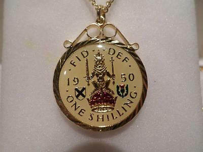 Vintage Enamelled Shilling Coin 1950 Pendant & Necklace. Birthday Xmas Present