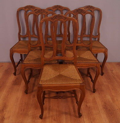 1182 !! Superb Oak Set Of 6 Chairs In Louis Xv Style  !!