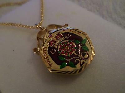 Vintage Enamelled 20 Pence Coin 1983 Pendant & Necklace. Birthday Xmas Present
