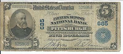 Scarce 1902 $5 National Currency Farmers National Bank Pittsburgh #685 Ser #5868