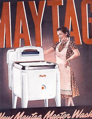 1940 MAYTAG  Electric Washer with Wringer  Magazine Ad / Advertisement