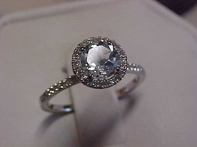 *ESTATE*1.00ct  AQUAMARINE & PAVE SET DIAMOND PROMISE RING 10K WHITE GOLD sz6.5