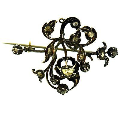 VICTORIAN DIAMOND BROOCH STERLING SILVER ANTIQUE ESTATE 1800s 1.90 INCH LONG