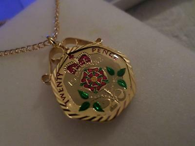 Vintage Enamelled 20 Pence Coin 1982 Pendant & Necklace. Birthday Xmas Present