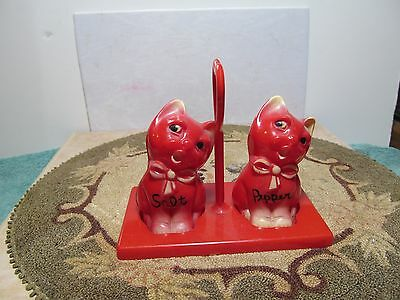 Cute unbranded red & white kitty cat salt & pepper shakers with stand/holder.