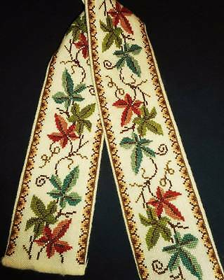 Leaves Leaf Finished Vtg Wall Art Hanging Cross Stitch Hand Embroidery Bell Pull
