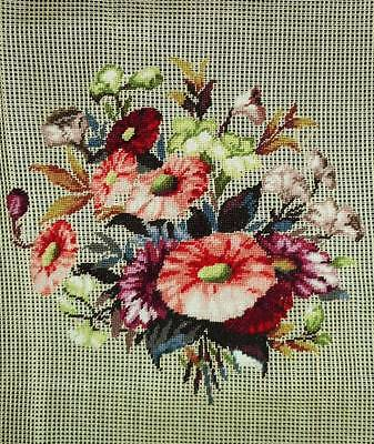 ALL PETIT Point Vintage Preworked Chair Seat Floral Penelope Needlepoint CANVAS