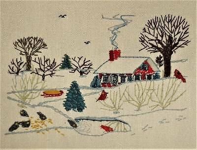 Winter Or Christmas Landscape Vtg House Tree Birds Finished Crewel Embroidery