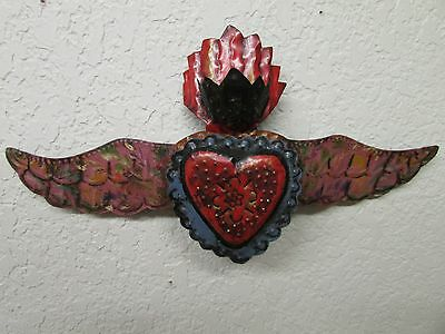 Winged Sacred Heart Tin Door Topper #1-Painted-Mexican Folk Art-Handmade-17x9 in