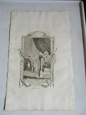 c 1800 ESTHER AND AHASUERUS FOLIO COPPER PLATE ENGRAVING   RELIGION THEOLOGY