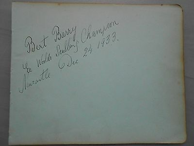 1927 World Sculling Champion Bert Barry Hand Signed Autograph Album Page & Coaq