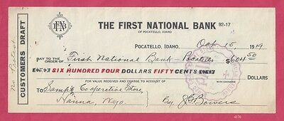 Customers Draft to First National Bank of Pocatello, Idaho, 1919