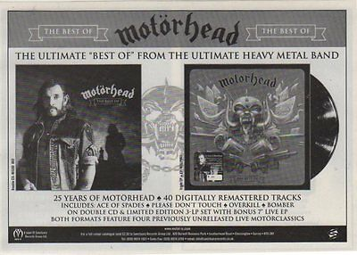 -::O::- MOTORHEAD Rare A5 approx Magazine advert THE BEST OF  CD LP  -::O::-