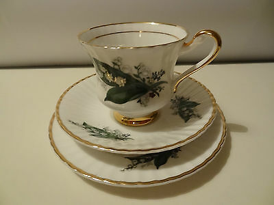 Lubern China Cup Saucer & Plate, Trio, Lily of valley 22crt Gold British Made