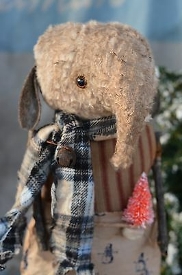 PRIMITIVE Winter Viscose Standing Elephant Doll Center Piece Ooak