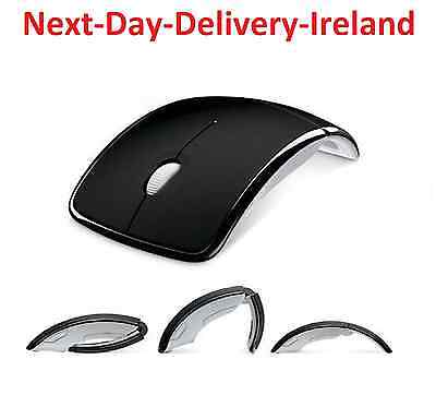 Black USB 2.4G Receiver Optical Foldable Folding Arc Wireless Mouse Retro
