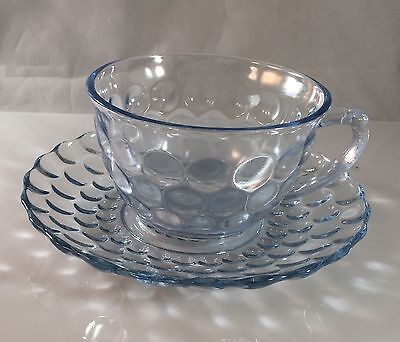 Vintage Sapphire Blue Bubble Anchor Hocking Glass Teacup and Saucer Pair