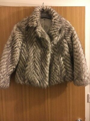 Marks And Spencer's (M&S) Autograph Girl Faux Fur Coat Size 9-10 Years