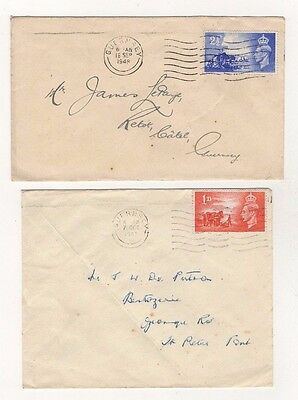 GB 1948 C.I. LIBERATION x 2 COMMERCIAL COVERS (SARNIA FRUIT CO. ON BACK OF ONE)