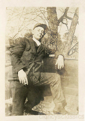1915 Young Man Smoking Cigarette Lace Boots CAp Cocky Dude leans car