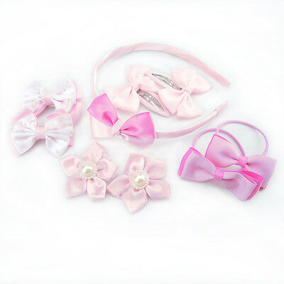 9PCS Pink Baby Girls Hair Clips Bow Grips Hair Band Rope Hairpin Accessories Set