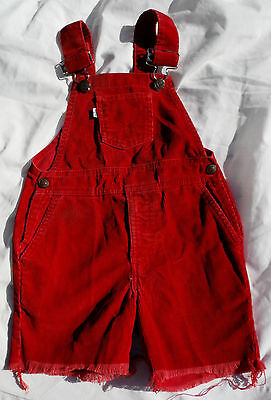 "Vtg LEVIS Talon 42 Zipper Red Corduroy Costume Kids Overall Shorts - 22"" Waist"