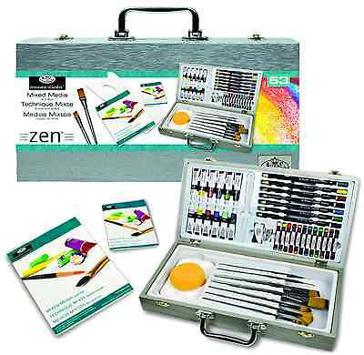 53 Piece Zen Mixed Media Painting Artist Box Set Brushes Pads Paints Mms7301