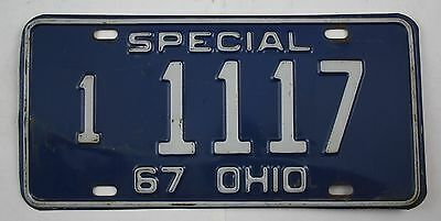 Vintage 1967 Original OHIO SP Master Dealer Replacement License Plate 1 1117