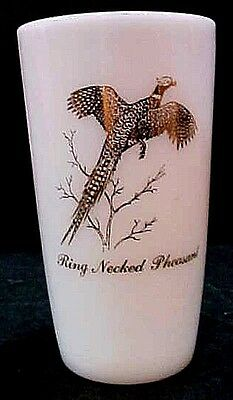 Ring Necked Pheasant Vintage Milk White Federal Glass Drink Tumbler FREE S/H