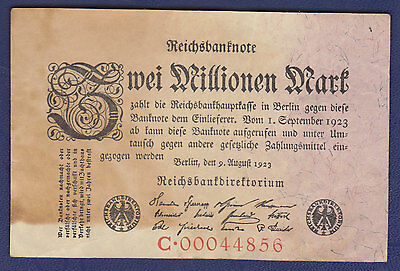1923 Germany 2 Million Mark Note In Vg-Fine Condition (Pick #103)
