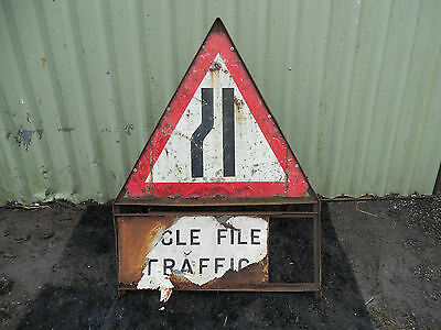 METAL Free STANDING Highway A-BOARD ROADSIGN Road Sign - SINGLE FILE TRAFFIC