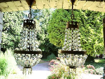 Vintage French Pair Of Petite  Bag  Chandeliers