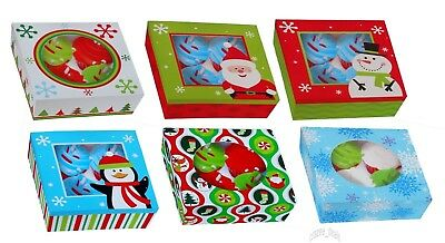 Lot Of 6 (3 Packs Of 2) Cupcake Cookies Candy Gift Boxes W/Window Christmas NEW