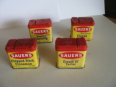 4 Sauer's Vintage Spice Tins: Cloves/ cream of tartar/chipped cinnamon/ poultry