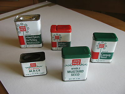 5  Vintage Ann Page Tins - mace, mustard seed, caraway, pickling spice, pepper