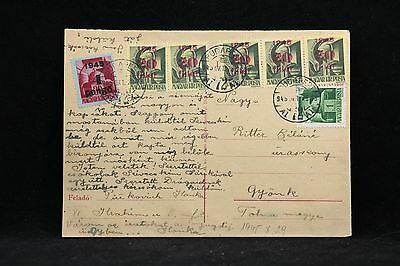Hungary: 1945 Postcard, Domestic Use, 7 Stamps, 6 with Overprints