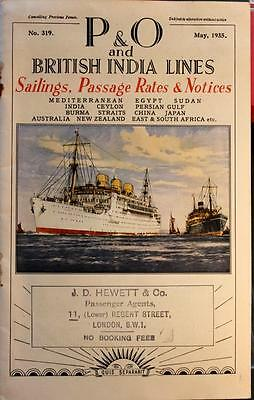 P&O and British India Lines Sailing Schedule 1935