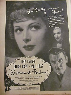 Experiment Perilous, Hedy Lamarr, Full Page Vintage Promotional Ad
