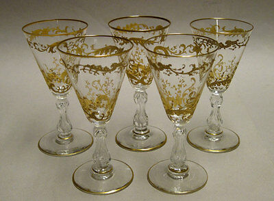 Antiques 5 Sherry Liqueur Stems, Gold Encrusted & Air Encapsulated, 1.5 Oz Glass